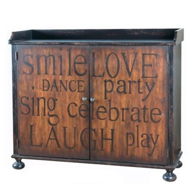 Pulaski Inscribed Wine Cabinet in Black