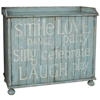Pulaski Inscribed Wine Cabinet in Light Blue