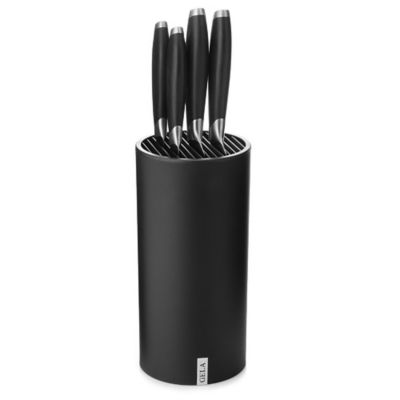 Gela Nitrogen Infused Stainless Steel 5-Piece Knife Set with Universal Block in Black