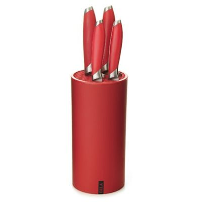 Gela Nitrogen Infused Stainless Steel 5-Piece Knife Set with Universal Block in Red