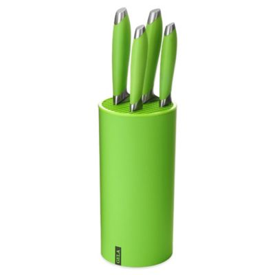 Gela Nitrogen Infused 5-Piece Knife Set with Universal Block in Green
