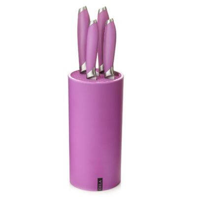 Gela Nitrogen Infused Stainless Steel 5-Piece Knife Set with Universal Block in Purple