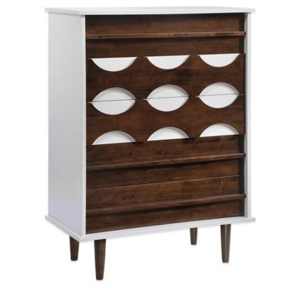 Zuo® Modern Seattle High Chest in Walnut and White