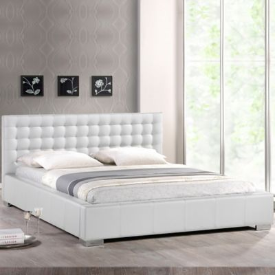 Baxton Studio Madison Full Platform Bed with Tufted Headboard in White