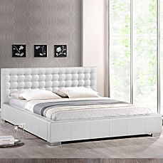 Baxton Studio Madison Platform Bed with Tufted Headboard in White