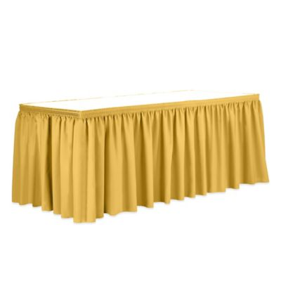 Shirred 11-Foot Polyester Table Skirt in Orange