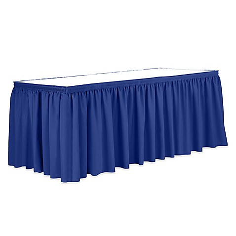 buy shirred 13 foot polyester table skirt in royal blue