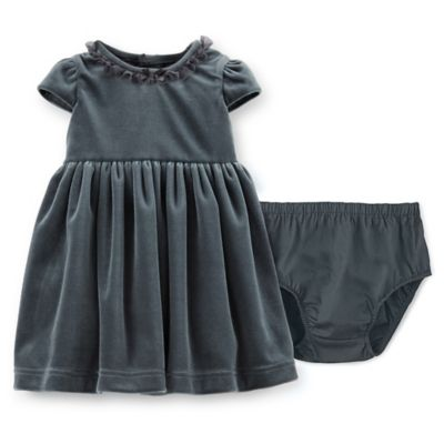 Carter's® Size 6M 2-Piece Velour Dress and Diaper Cover Set in Navy