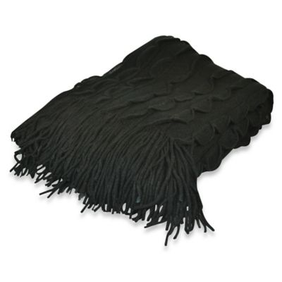 Pur Cashmere Scallop Edge Throw in Black