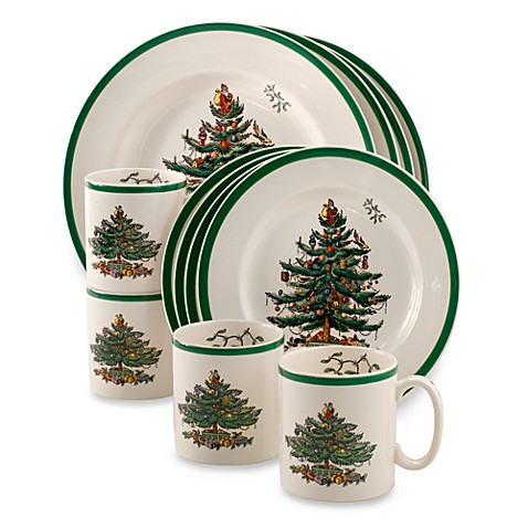 spode christmas tree 12 piece dinnerware set from bed bath beyond