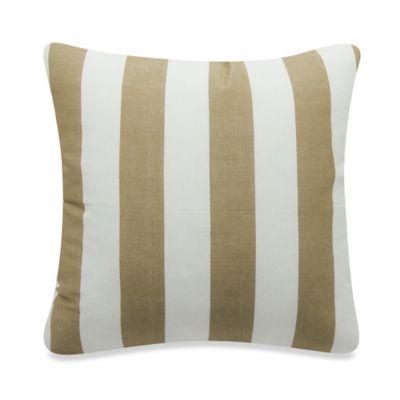 Newport Montauk Square Throw Pillow in Khaki Stripe