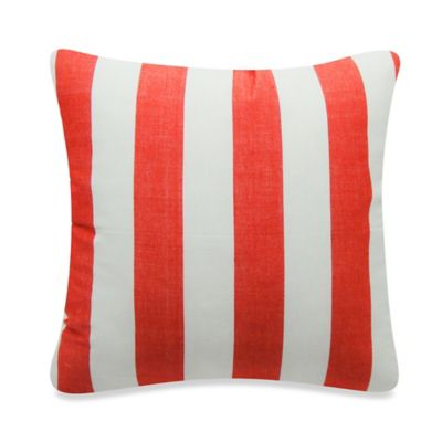 Newport Montauk Square Throw Pillow in Flame Red Stripe