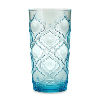 Embossed Patio Tile Highball Glass in Aqua