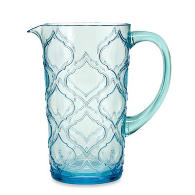 Embossed Patio Tile Pitcher in Aqua