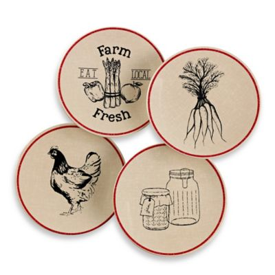 Vintage Farm to Table Melamine Appetizer Plates (Set of 4)