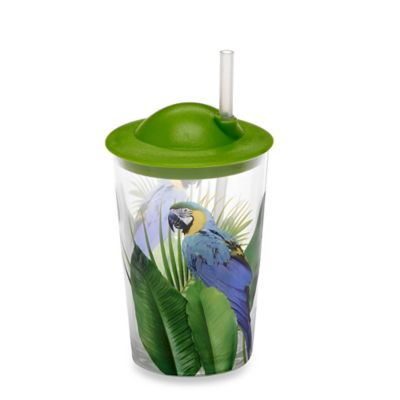 Children's Poolside Palms Lidded Tumbler with Lid and Straw