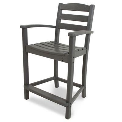 POLYWOOD® La Casa Counter Arm Chair in Grey