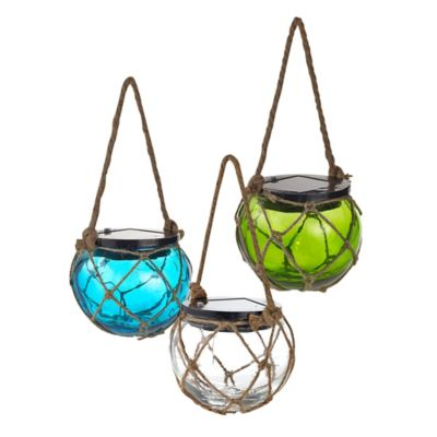 Solar-Powered Glass Hanging Buoy Lantern Light in Blue