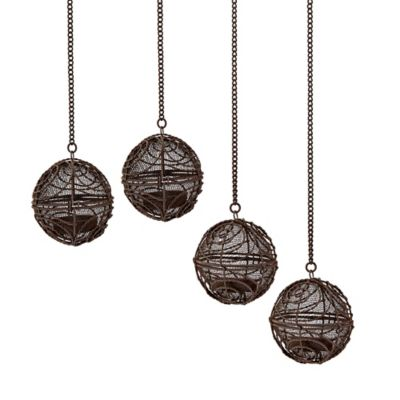 Spiral Wire Ball LED Umbrella Dangler Tea Lights (Set of 4)