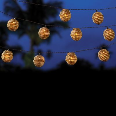 Outdoor Solar-Powered 10-Bulb Wicker Whitewash Ball String Lights in Brown