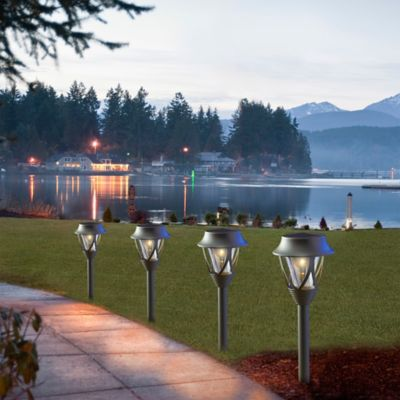Solar-Powered Metal Pathway Lights (Set of 4)