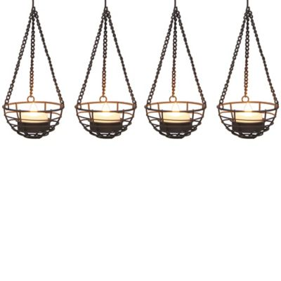 Copper Ball Umbrella Dangler LED Tea Lights (Set of 4)