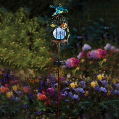 Solar-Powered Lighted Bird Cage Stake