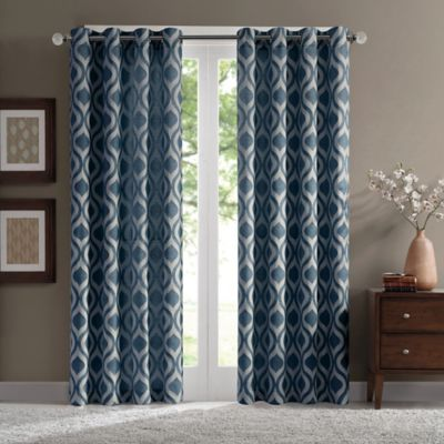 Verona 84-Inch Chenille Window Curtain Panel in Blue