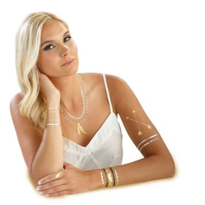 Hot Jewels™ Metallic Temporary Tattoos in Feathers Design