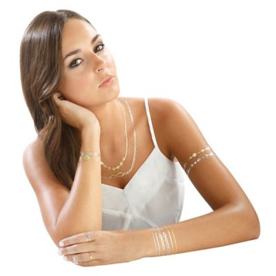Hot Jewels™ Metallic Temporary Tattoos in Peace & Love Design