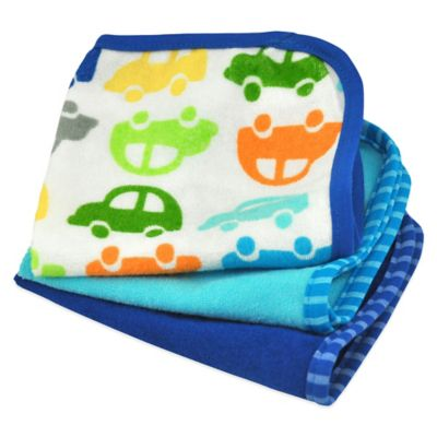 iPlay.® Brights 3-Pack Organic Terry Washcloths in Cars/Navy and Blue