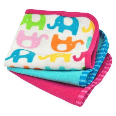 iPlay.® Brights 3-Pack Organic Terry Washcloths in Elephant/Fuchsia and Blue