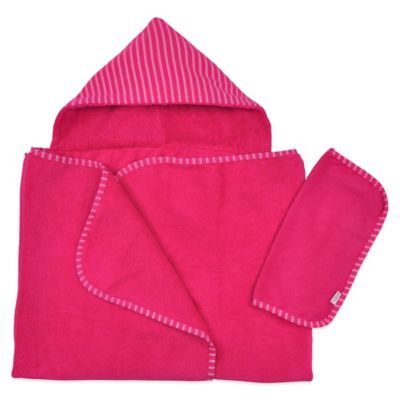 i play® Brights Organic Hooded Towel and Washcloth Set in Fuchsia (2 Piece Set)