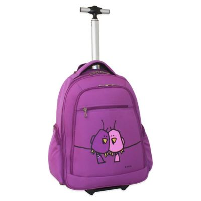 Ed Heck Big Love Birds 20-Inch Wheeled Backpack in Purple