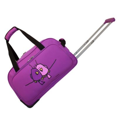 Ed Heck Big Love Birds 20-Inch Wheeled Duffle in Purple