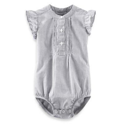 OshKosh B'gosh® Size 24M Short Sleeve Bodysuit in Grey Hickory Stripe