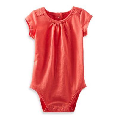 OshKosh B'gosh® Size 12M Eyelet Short-Sleeve Bodysuit in Coral