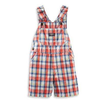 OshKosh B'gosh® Size 9M Shortall in Orange Plaid