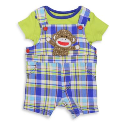 Baby Starters® Sock Monkey Size 6M 2-Piece T-Shirt and Plaid Shortall Set in Green/Blue