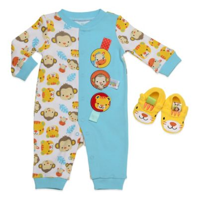 Taggies™ Tiger Tales Size 9M 2-Piece Footless Coverall and Bootie Set in Aqua