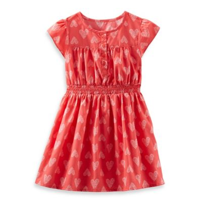 OshKosh B'gosh® Size 18M 2-Piece Heart Poplin Dress in Coral/Light Pink