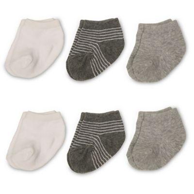 Size 12-24M 6-Pack Quarter Socks in White/Grey