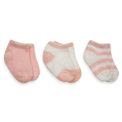 Planet Kids Size 0-12M 3-Pack Plush Quarter Socks in Pink/White