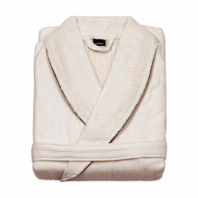 Kassatex Hotel Waffle/Terry Bathrobe in Beige