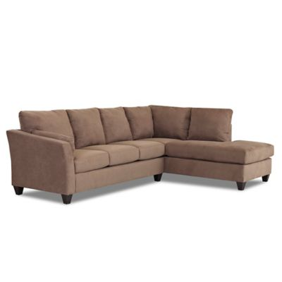 Klaussner Drew 2-Piece Fabric Sectional in Brown