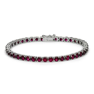 Sterling Silver 4-Prong Set 13.5 cttw Lab-Created Ruby Line Bracelet
