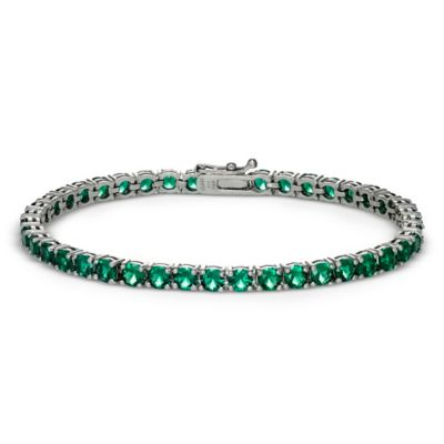 Sterling Silver 4-Prong Set 8.5 cttw Lab Created Emerald Line Bracelet