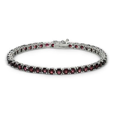 Sterling Silver 4-Prong Set 14 cttw Garnet Line Bracelet
