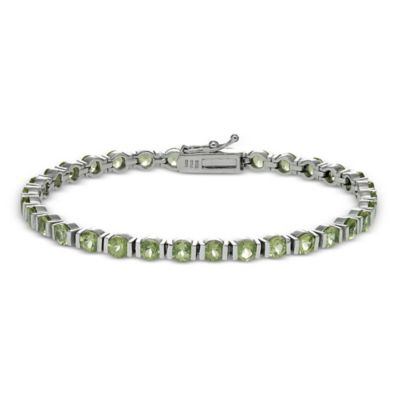 Sterling Silver 9 cttw Prong Set Peridot Bar Line Bracelet