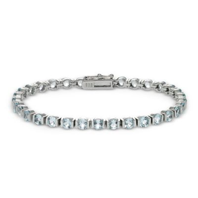 Sterling Silver 11 cttw Prong Set Blue Topaz Line Bar Line Bracelet